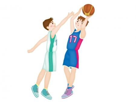 バスケットボールをしているイラスト素材02