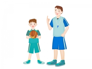 バスケットボールを教えているコーチと男の子のイラスト素材