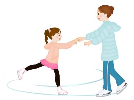 フィギュアスケートのコーチと女の子のイラスト素材