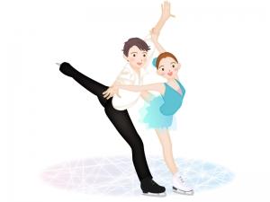 フィギュアスケートペアのイラスト素材