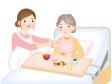 介護補助で食事をしているシーンのイラスト素材