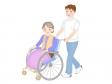 介護で車椅子を押しているシーンのイラスト素材