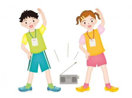 ラジオ体操をしている小学生のイラスト素材