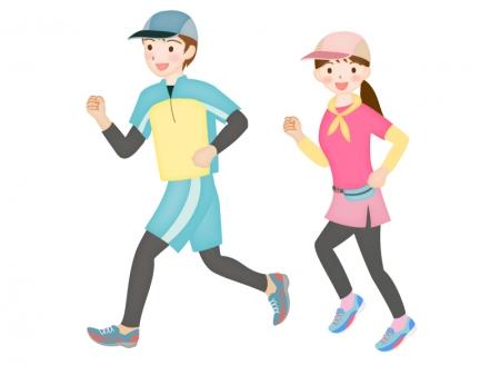 男女でジョギング(マラソン)をしているシーンのイラスト素材