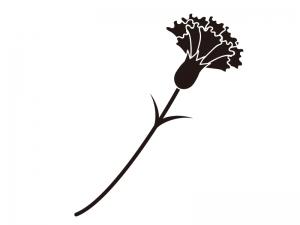 カーネーションのシルエット(白黒)のイラスト素材