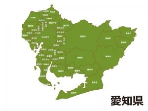 愛知県(市区町村別)の地図イラスト素材