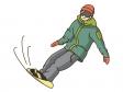 スノーボードをしているシーンのイラスト素材02