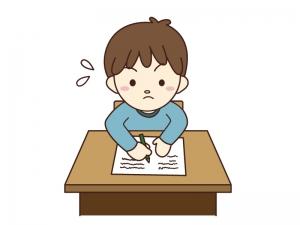 子供が勉強・テストをしているイラスト素材