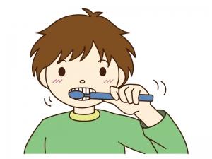 子供が歯磨きをしているシーンのイラスト素材