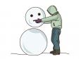 雪だるまを作っているイラスト素材02