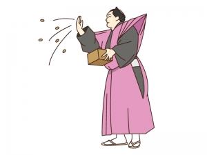 節分にお相撲さんが豆まきをしているイラスト素材