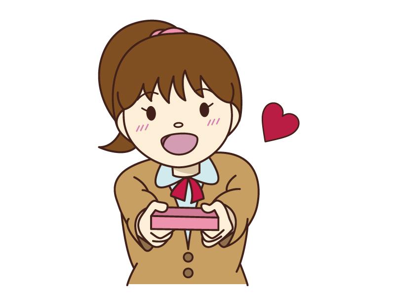 バレンタイン・チョコを渡しているイラスト素材