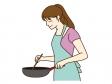 料理をしている女性のイラスト素材02