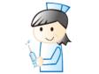注射器を持った女性の看護師さんのイラスト素材
