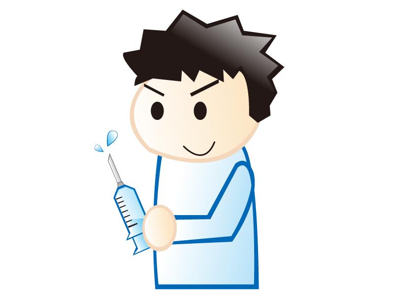 注射器を持った若い男性の看護師さんのイラスト素材