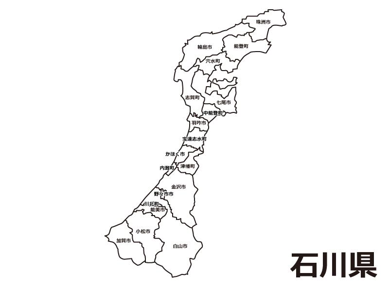 石川県(市町村別)の白地図のイラスト素材