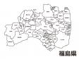福島県(市町村別)の白地図のイラスト素材