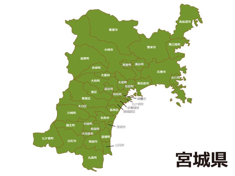 宮城県(市区町村別)の地図イラスト素材