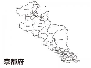 京都府(市区町村別)の白地図のイラスト素材