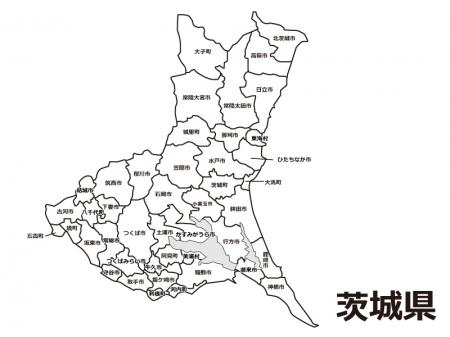 茨城県(市町村別)の白地図のイラスト素材
