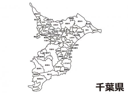 千葉県(市区町村別)の白地図のイラスト素材