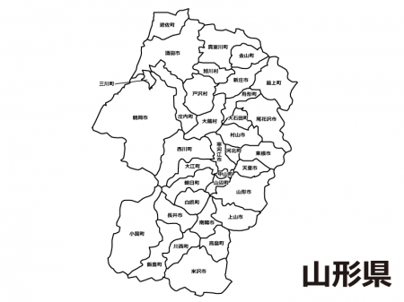 山形県(市町村別)の白地図のイラスト素材