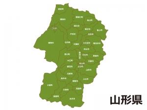 山形県(市町村別)の地図イラスト素材