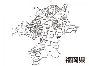 福岡県(市区町村別)の白地図のイラスト素材