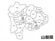山梨県(市町村別)の白地図のイラスト素材