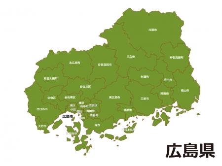 広島県(市区町村別)の地図イラスト素材