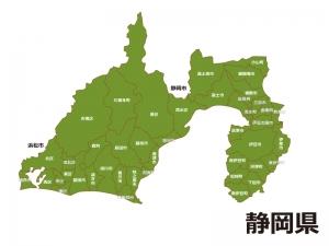 静岡県(市区町村別)の地図イラスト素材