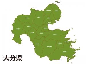 大分県(市町村別)の地図イラスト素材