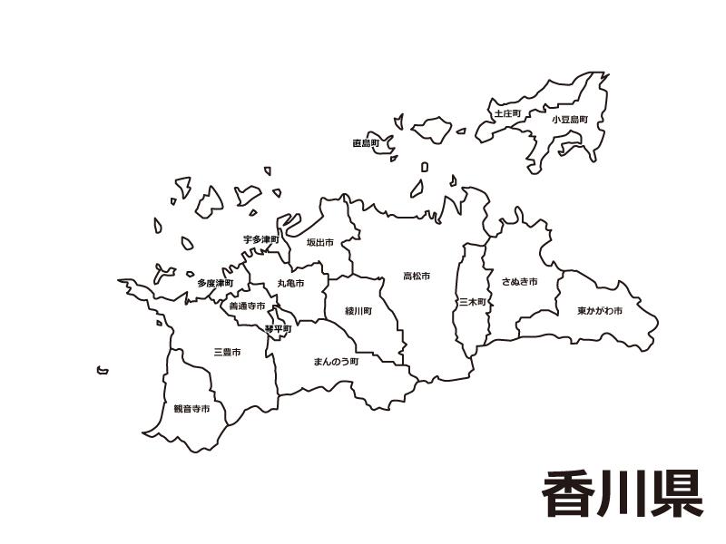 香川県(市町村別)の白地図のイラスト素材