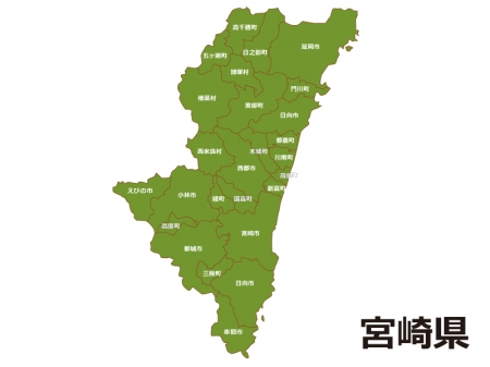 宮崎県(市町村別)の地図イラスト素材