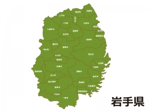 岩手県(市町村別)の地図イラスト素材