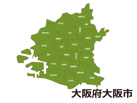大阪府大阪市(区別)の地図イラスト素材