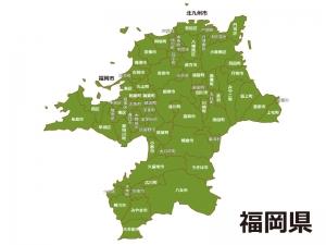 福岡県(市区町村別)の地図イラスト素材