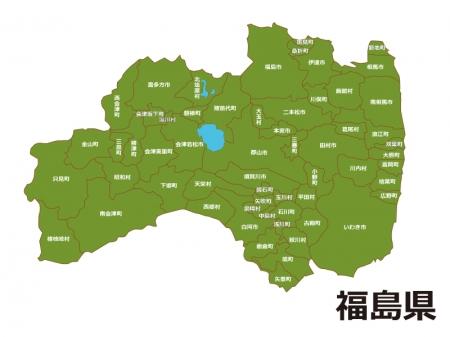 福島県(市町村別)の地図イラスト素材