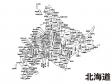 北海道(市区町村別)の白地図のイラスト素材