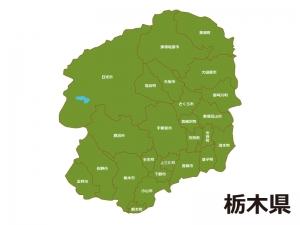 栃木県(市町村別)の地図イラスト素材