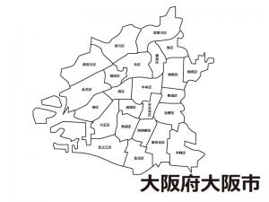 大阪府大阪市(区別)の白地図のイラスト素材