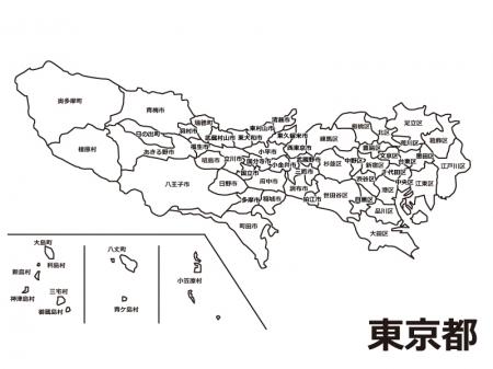 東京都(市区町村別)の白地図のイラスト素材