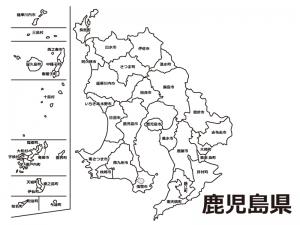 鹿児島県(市町村別)の白地図のイラスト素材