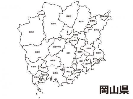 岡山県(市区町村別)の白地図のイラスト素材