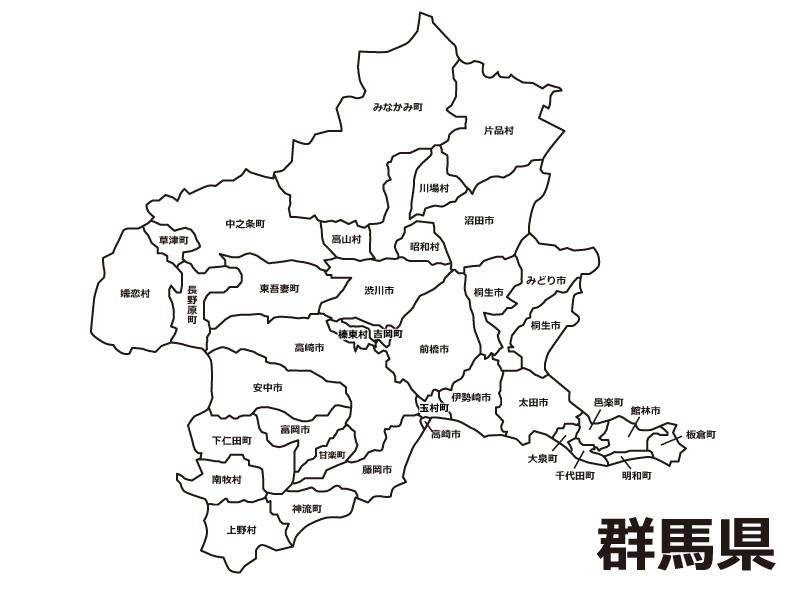 群馬県(市町村別)の白地図のイラスト素材