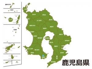 鹿児島県(市町村別)の地図イラスト素材