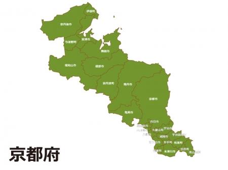 京都府(市区町村別)の地図イラスト素材