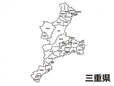 三重県(市町村別)の白地図のイラスト素材