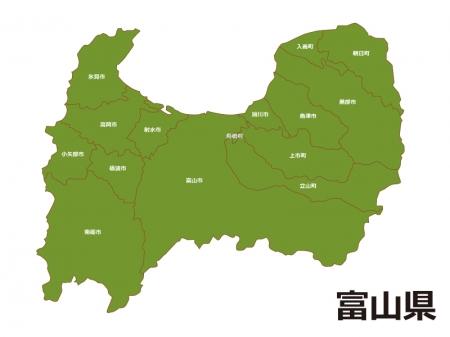 富山県(市町村別)の地図イラスト素材