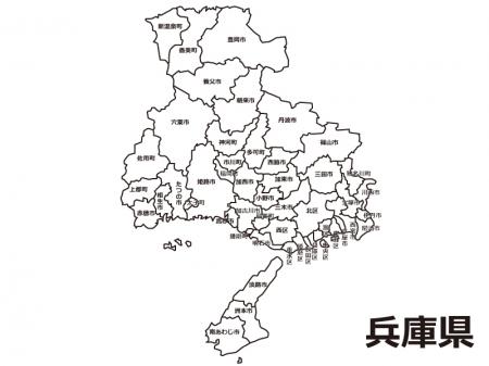 兵庫県(市区町村別)の白地図のイラスト素材